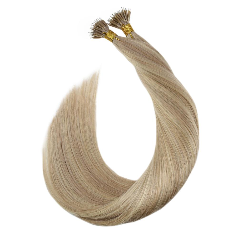 Ugeat Nano Ring Human Hair 50strand/pack 14-24inch P18/613 Machine Remy Hair Silky Straight Nano Tip Real Hair Extension