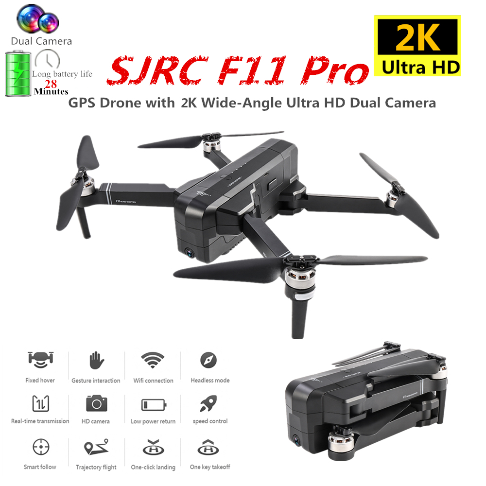 SJRC F11 PRO GPS Drone with 2K/1080P WIFI Camera Quadrocopter Optical Flow Quadcopter 28min Flight Time Dron Vs SG906 B4W E520S