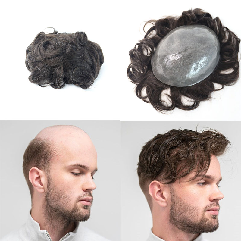 8x10 Inches Full PU Men Toupee Durable Remy Hair Men Wig PU Replacement System For Men Rosa Queen