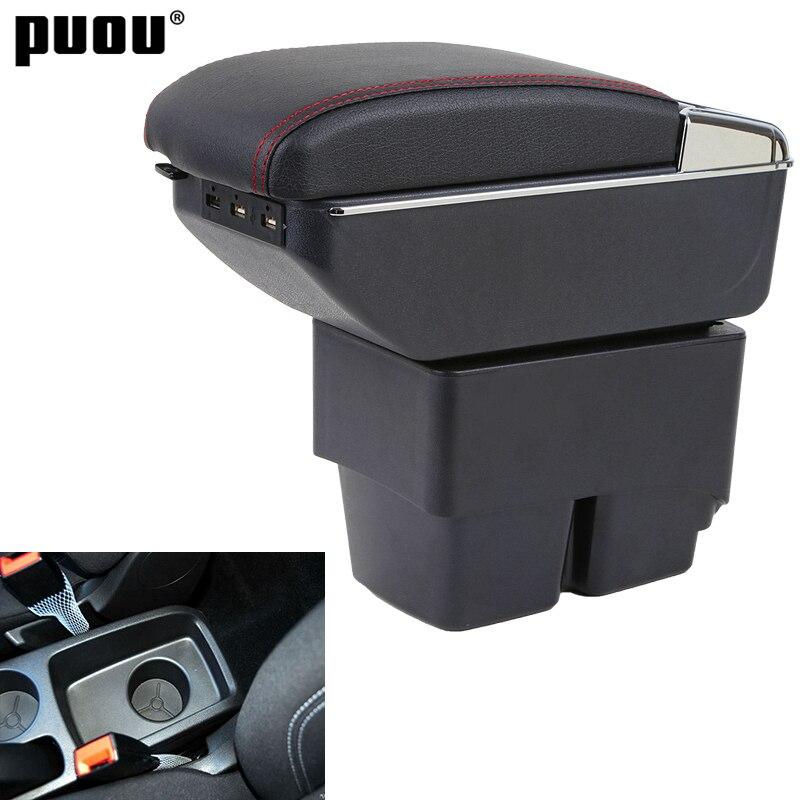 Para Ford Fiesta 2009-2017 reposabrazos caja central tienda Centro consola caja con sostenedor de taza