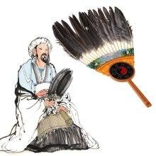 Древний китайский zhuge liang черное перо веер для рук бамбуковый