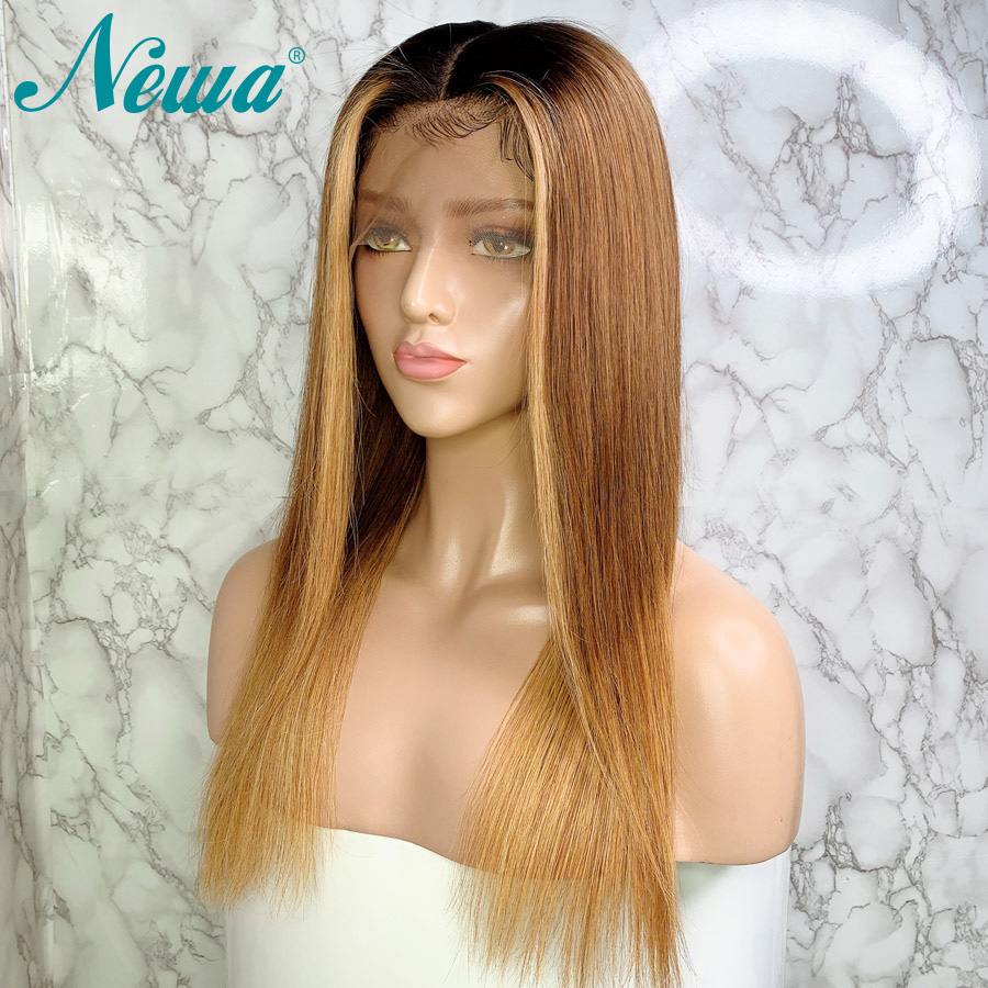 Newa Hair Ombre Blonde Lace Front Human Hair Wigs Pre Plucked With Baby Hair 13x6 Straight Lace Front Wig Brazilian Remy130/150%