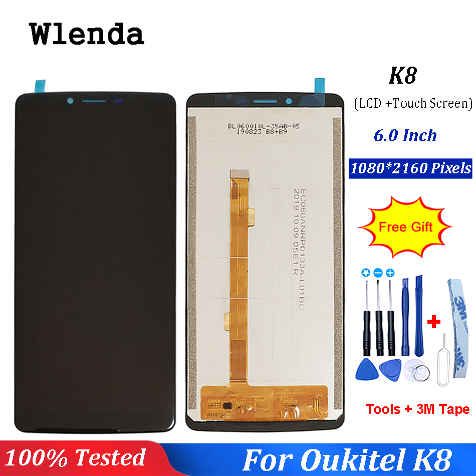 Wlenda For Oukitel K8 LCD Display+Touch Screen 100% Original Tested LCD Digitizer Glass Panel Replacement+Tools+3M Tape