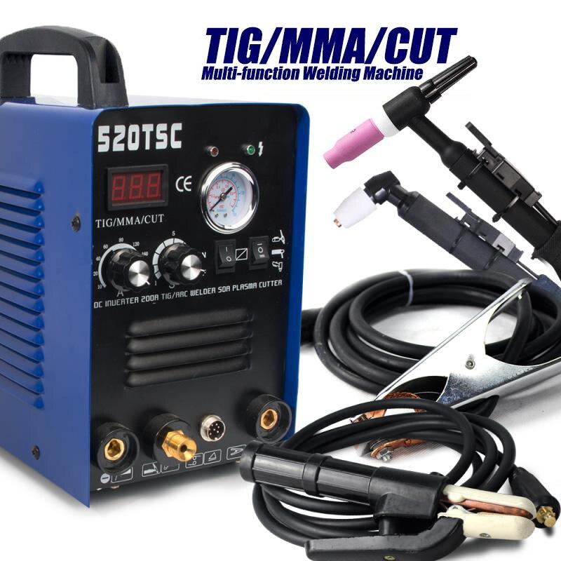 Tosense 520TSC 3 w 1 wielofunkcyjny 50A palnik plazmowy 200A spawarka TIG/MMA 110V/220V podwójne napięcie spawarka