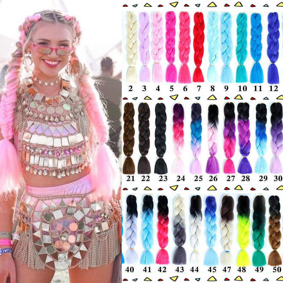 "AOSIWIG 24"" Jumbo Braids Long Ombre Jumbo Synthetic Braiding Hair Crochet Blonde Pink Blue Grey Hair Extensions African Viscera"