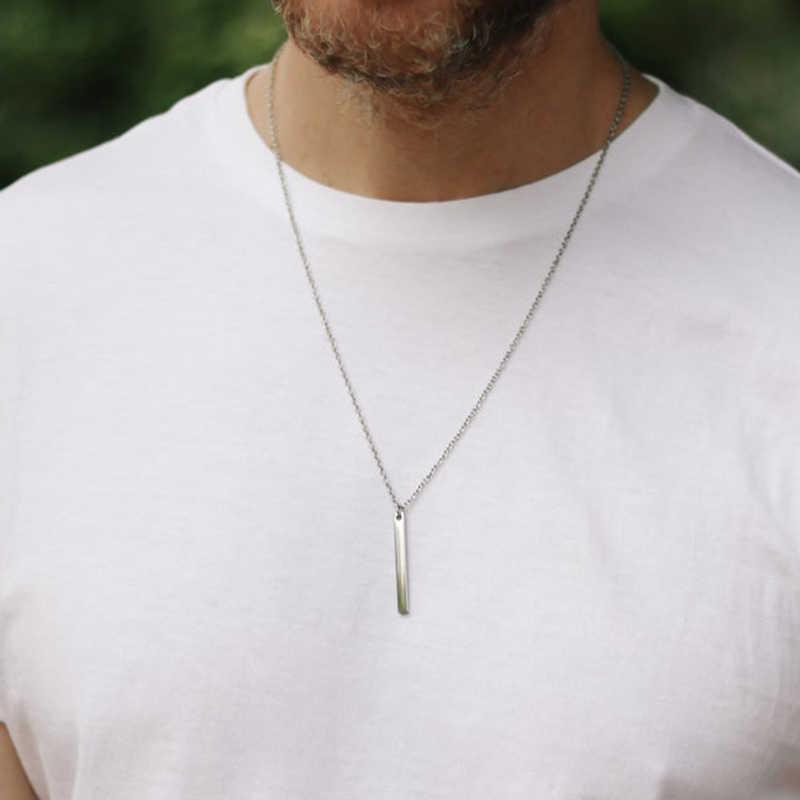 男性ネックレスステンレス鋼のネックレスの女性男性シンプルなロングチェーン長方形ペンダントネックレスステートメントカップルチョーカーギフト