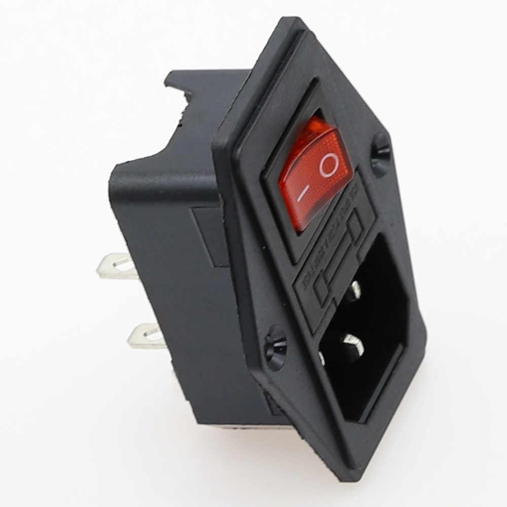 1set 10A 250V Inlet Module Plug Tuimelschakelaar Mannelijke Stopcontact 3 Pin IEC320 C14 schakelaar + Zekering nieuwe