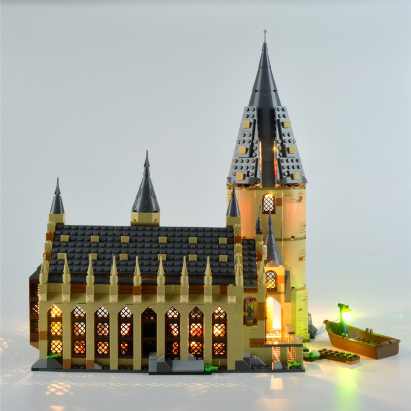 Complete <font><b>Harri</b></font> Magic Castle Clock Tower Express Train Building Blocks Toys Compatible 75953 75954 <font><b>75955</b></font> 75948 With LED Light image