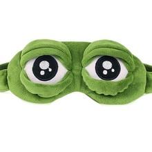 3D Sad Frog Green Eye Mask Cute Eyes Mask Cover Plush Relax Sleeping Rest Travel Sleep Anime Beauty