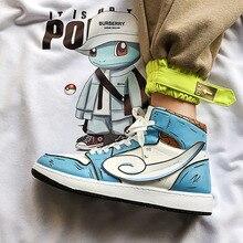Zapatillas de deporte Pokemon dibujo de pikachu para hombre, zapatos de lona pintados a mano, zapatillas de deporte informales de alta calidad, zapatos de minion, zapatillas de deporte para adultos y Minions