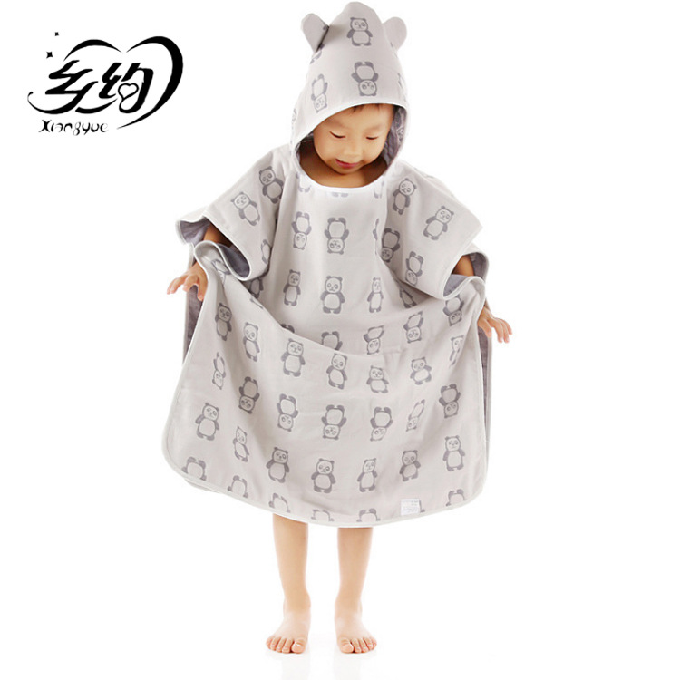 Pure Cotton Four Layer Gauze Bath Towel For Children Water-Absorbing Excluded Fluorescent Agent Baby Mantle Hooded Cloak
