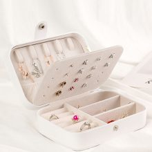 PU Leather Jewelry Storage Box Necklace Earrings Display White Color Rectangle Jewelry Box Organizer 16.5cm x 11.5cm