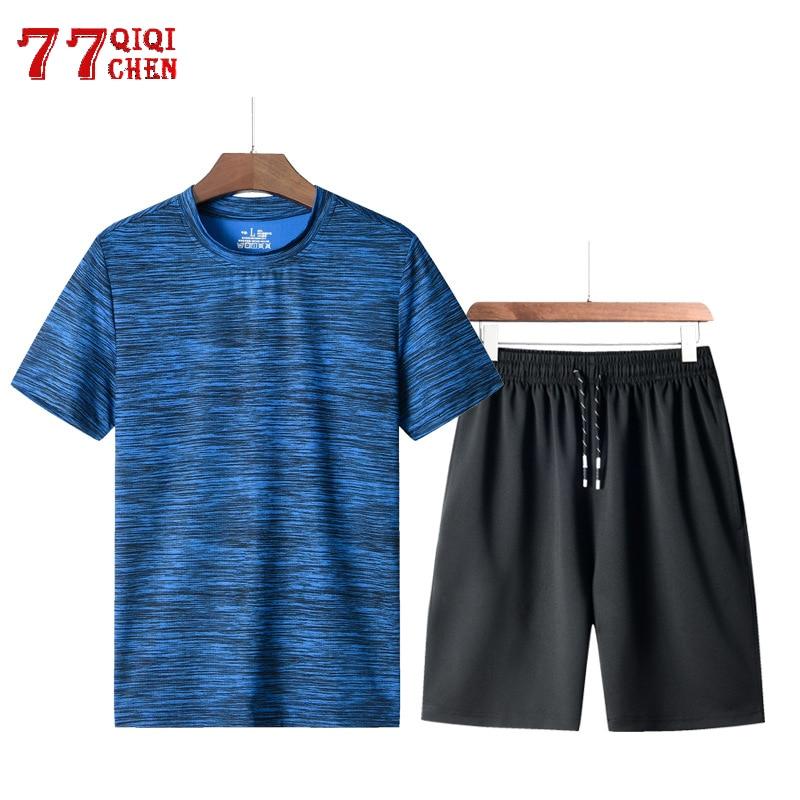Fitness Tracksuit Set Men Quick Dry Sporting Suit Men Plus Size 8XL Shorts+Tshirt Two Piece Sets Male Summer Casual Chandal