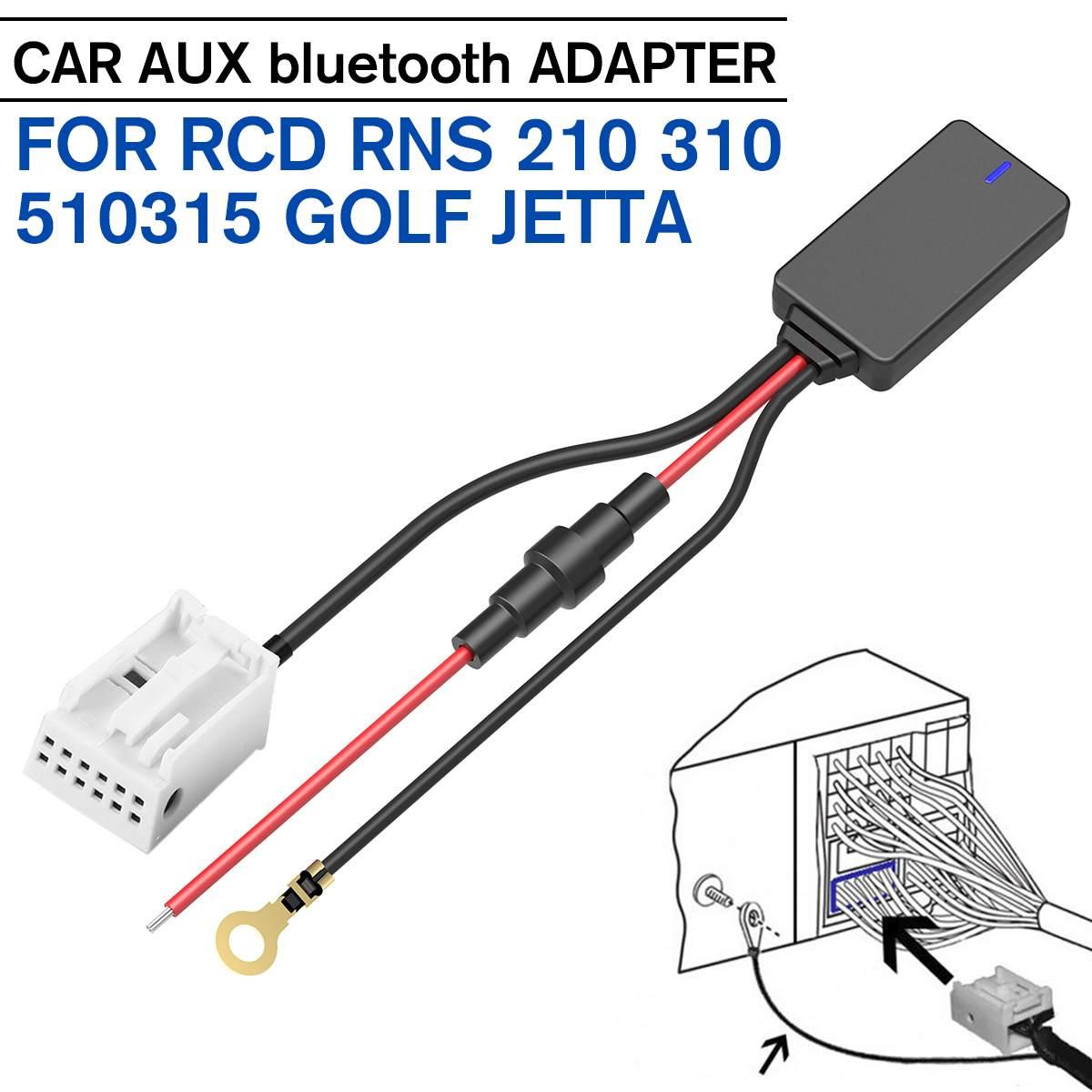 Aux Bluetooth Adapter Car Hands-free MP3 Jack Music Cable For RCD RNS 210 310 510 315 For VW For Polo For Passat For Golf R32