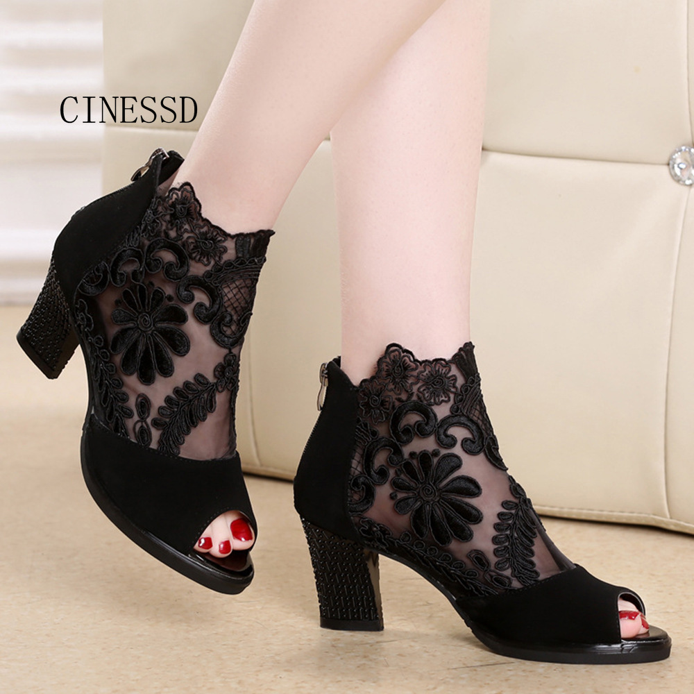 Sandals Chunky Lace Women Heels High-Heels Breathable Mesh Fresh No Fish-Tip Zapatos-De-Mujer