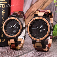 בובו ציפור יוקרה עץ גברים שעון relogio masculino מעצב אוטומטי תאריך צבעים שעונים עבור גברים בעבודת יד קוורץ שעוני יד C P14  1