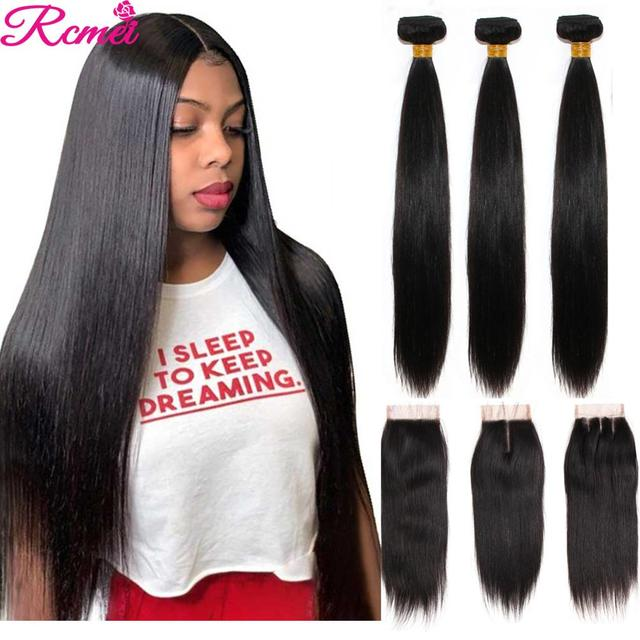 Brazilian 36 38 40 Straight Human Hair Weave Bundles with Closure Long 3 Bundles With Lace Closure 4*4  Remy Human Hair Bundles