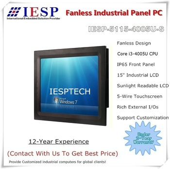 15 inch industrial panel pc, sunlight readable LCD, i3-4005U CPU, 4GB RAM/500GB HDD,2COM/4USB,15 inch fanless panel pc