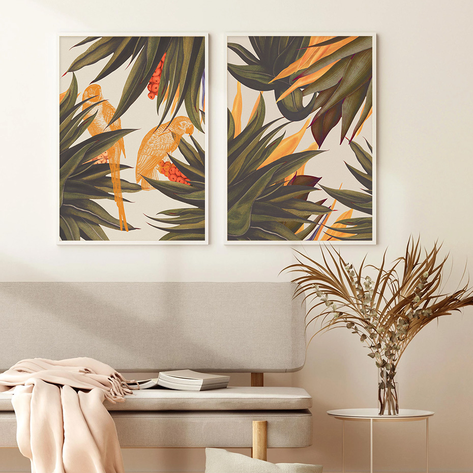Trend Abstract Seamless Pattern With Colorful Tropical Leaves Beige Wall Art Prints Canvas Paintings Living Room Decoration