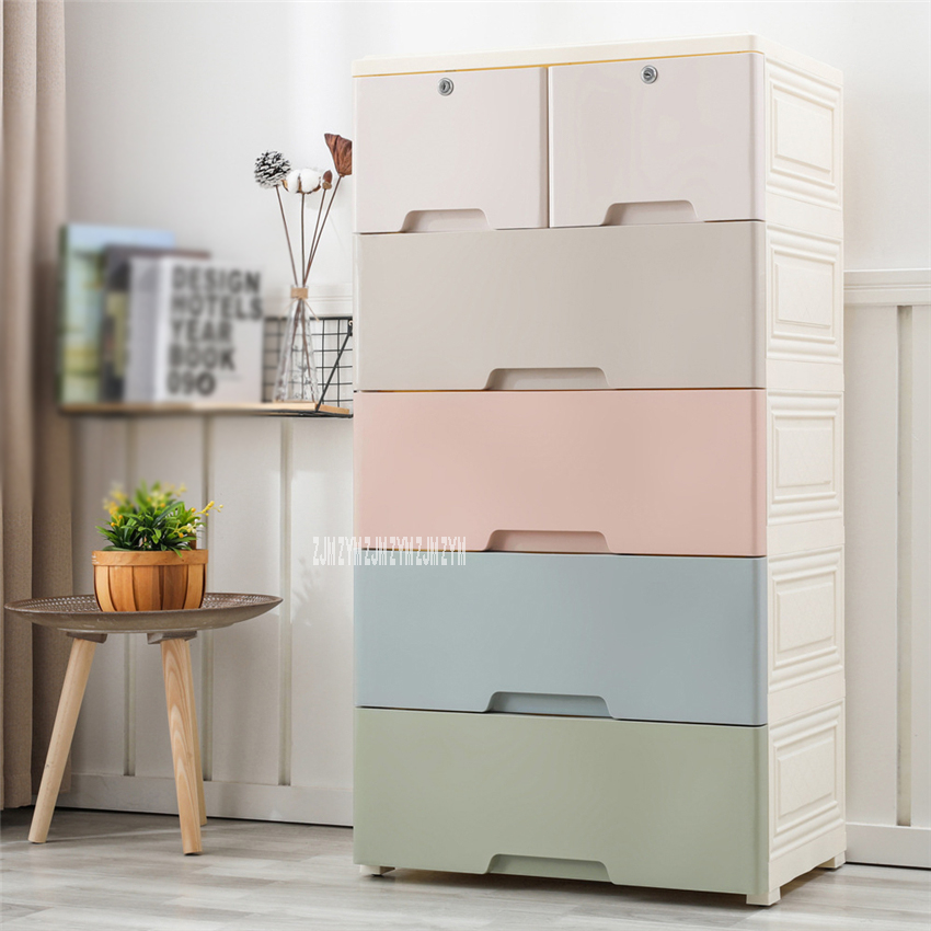 5805 5-Tier PP Drawer Type Combined Locker Clothes Storage Cabinet Large Children Toy Plastic Organizing Cabinet With Lock Wheel