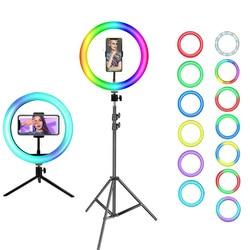 Dimmable RGB светодиодный кольцо для селфи с узконаправленным светильник кольцо с фотографией лампа с треножником для макияжа прямой трансляции...