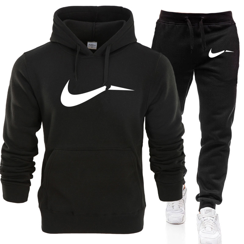 2019 New Fashion Men Hoodies Suits Brand Tracksuit Men Hip Hop Sweatshirts+Sweatpants Autumn Winter Fleece Hooded Pullover