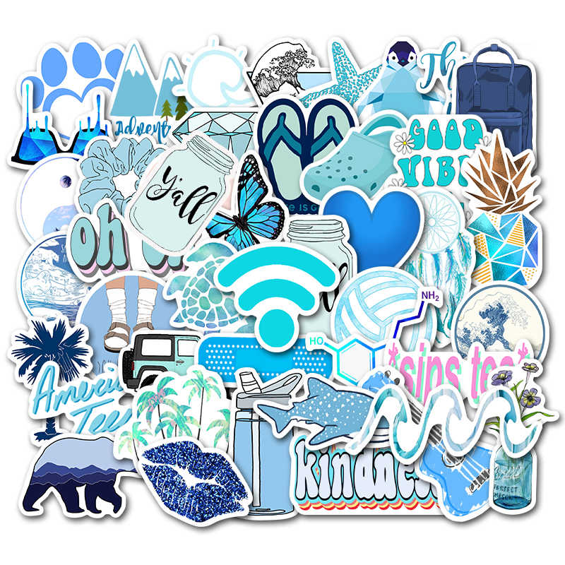 25PCS Ins Style Blue Graffiti Stickers For Chidren Toy Waterproof Sticker to DIY Suitcase Laptop Bicycle Helmet Car Decals
