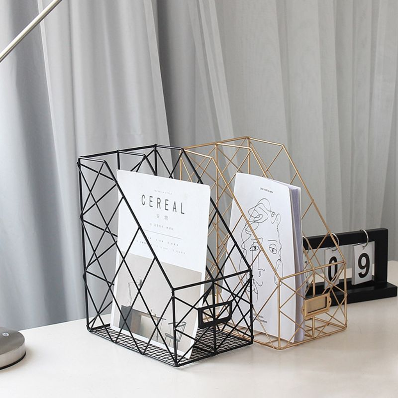 Iron Grid File Holder Simple Double Layer Desk Shelf Magazine Book Storage Rack