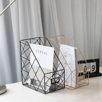 Iron Grid File Holder Simple Double Layer Desk Shelf Magazine Book Storage Rack|Bookcases| |  -