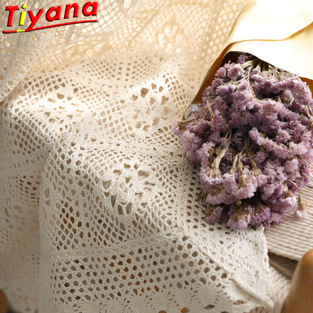 Modern Openwork Lace Curtains for Living Room Beige/White Knit Hollow out Window Drapes for Balcony Can Be TableCloth X M181#40