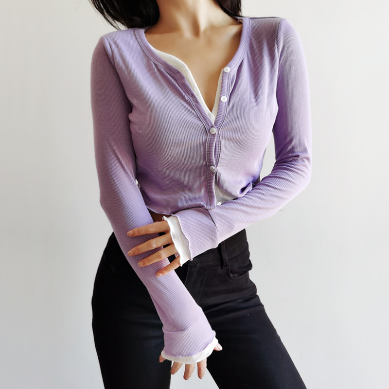 Women Double Layer Button Up Crop Cardigan