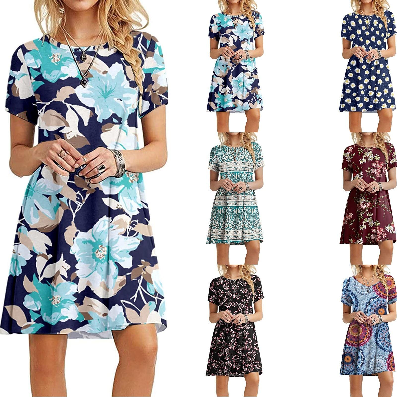 Women's Summer Casual Tshirt Dresses Short Sleeve Boho Beach Dress 1