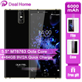 OUKITEL K3 Pro 4GB + 64GB Smartphone Android 9,0 pastel MT6763 Octa Core 5,5 FHD 6000mAh identificación facial 9V/2A carga de Flash teléfono móvil