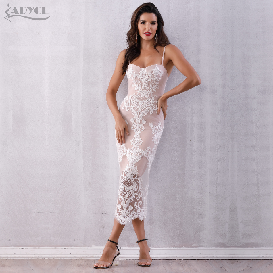 Adyce 2020 Summer Sexy Lace Bandage Dress Women Vestidos Spaghetti Strap Bodycon Club Dress Elegant Celebrity Runway Party Dress