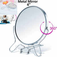 4 Round Makeup Cosmetic Mirror 360 Degree Rotation Two Side Mirror Magnifier Stainless Steel Frame