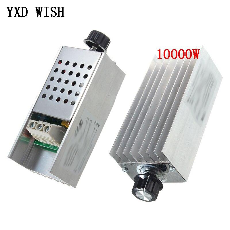 Controlador de velocidad 10000W 25A controlador de alta potencia SCR regulador de voltaje atenuador Interruptor de velocidad Control de temperatura termostato AC 110V 220V