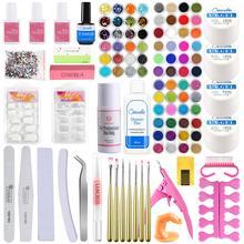 Juego de polvo acrílico con purpurina en 72 colores, conjunto de decoración para uñas, pincel para la manicura, barniz semipermanente, conjunto de Uv