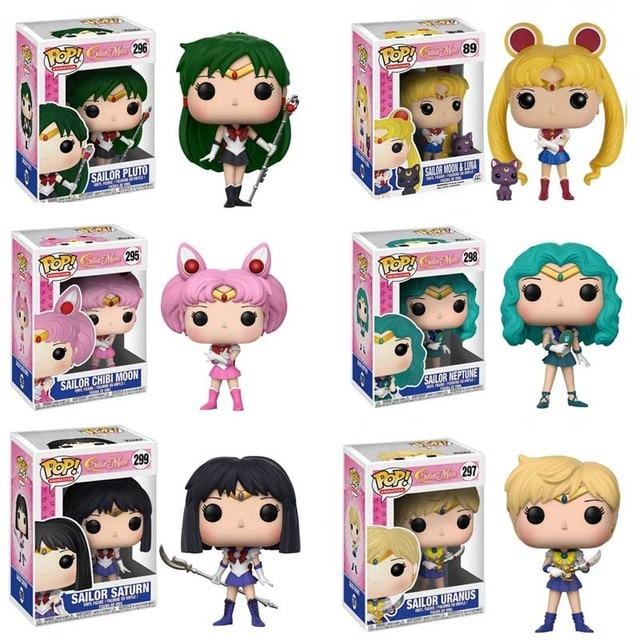 FUNKO POP SAILOR MOON 89# Chibiusa 295# Meiou Setsuna 296# Tenoh Haruka 297# Kaiou Michiru 298# Action Figure Toys for Kids Gift 1