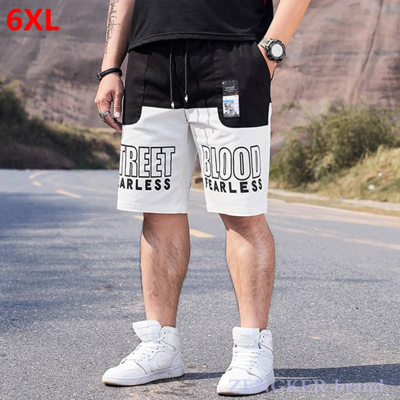 Summer Big Size Male Loose Trend Black And White Stitching Casual Sports Shorts Street 6XL New Five-point Shorts Sweatpants Men