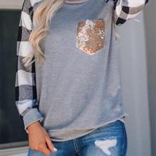 Клетчатые толстовки, женский топ с блестками и карманом, пуловеры с длинным рукавом, Женский клетчатый Анорак, Свитера с круглым вырезом, осенне-зимние топы для женщин