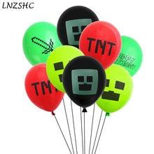 Mundos jogo balões feliz aniversário pixelated vermelho látex baloon decorações de chuveiro do bebê brinquedos para crianças presente 12 polegada 10 pçs
