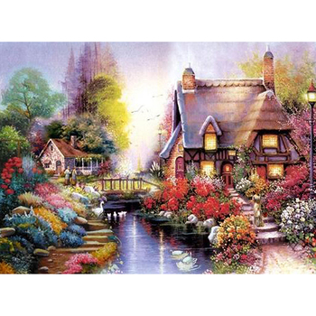 full square/round 5D DIY diamond painting Landscape village diamond embroidery mosaic rhinestone cross stitch Home decor M187 image