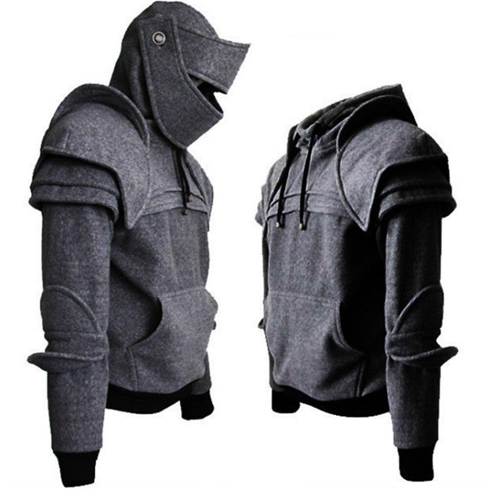 Men Costumes Jacket Helmet Mask Sweatshirt Coat Hooded Knight Cosplay Warrior Drawstring