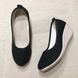 Image 2 - Veowalk Handmade Women Plain Linen Cotton Wedge Espadrilles Vintage Solid Color Ladies High Heel Slip on Platforms Pumps Shoes