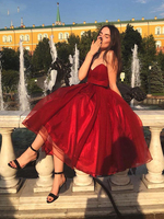 New Design Sweetheart Organza Burgundy Prom Dress 2020 Tea Length Ball Gown Graduation Homecoming Dresses
