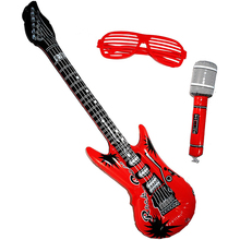 18 Pack Inflatable Rock Star Toy Set for Concert Theme Party Favors Birthday Electric Guitar/Microphones/Shutter Shading Glasses