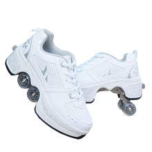 Sapatas de rolo de deformação parkour roda sapatos 4 rodas rodadas de tênis de corrida patins sapatos para sapatos de patinação unissex