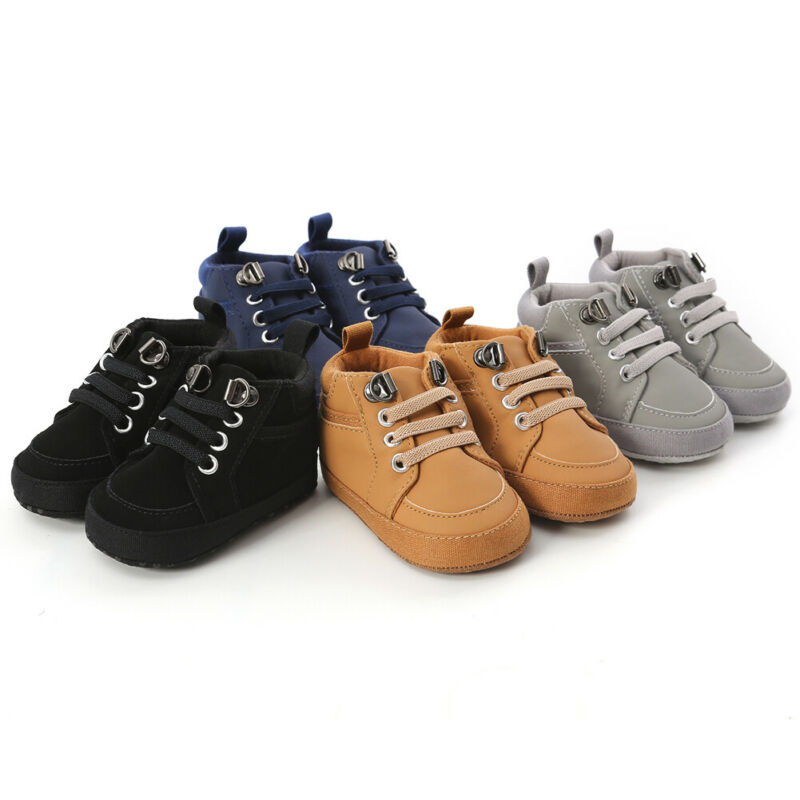 Toddler Infant Baby Boy Girl Leather Shoes Kids Soft Sole Crib Shoes