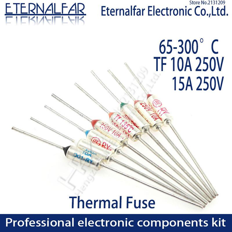 TF Thermal Fuse RY 10A 15A 250V Temperature Control Thermostat Switch 65 70 73 77 80 85 90 95 <font><b>100</b></font> 105 <font><b>110</b></font> 113 115 120 C Degree image