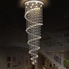 Jmmxiuz lustre de cristal escada, moderno, grande, escada, longa espiral, luminária suspensa, para escada, chuva, + frete grátis
